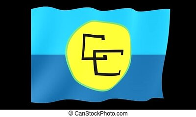 Caricom flag. Waving