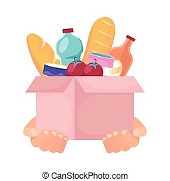caridad, caja, donación, comestibles