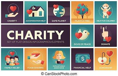 caridad, -, conjunto, de, plano, diseño, infographics, elementos