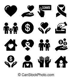 caridad, cuidado, conjunto, iconos