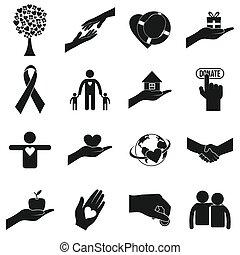 caridad, simple, negro, iconos