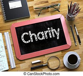 caridade, conceito, ligado, pequeno, chalkboard., 3d