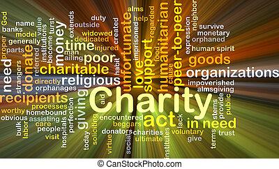 caridade, fundo, conceito, glowing
