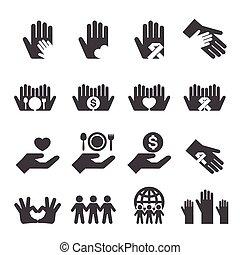 caridade, jogo, ícones