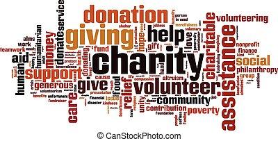 caridade, palavra, nuvem