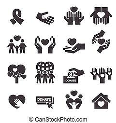 caridade, silueta, ícones