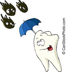 Caries attack - Tooth on a white background, vector ...