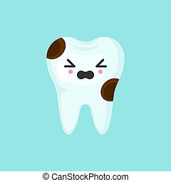 Caries tooth with emotional face, cute colorful vector icon illustration