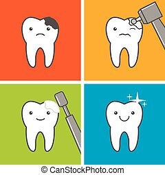 Preventing dental caries circular diagram with healthy tooth caries treatment process ccuart Gallery
