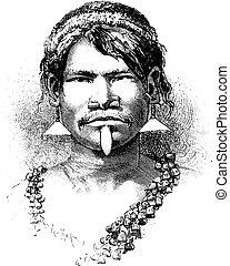 Carijona Indian of Amazonas, Brazil, vintage engraving - ...