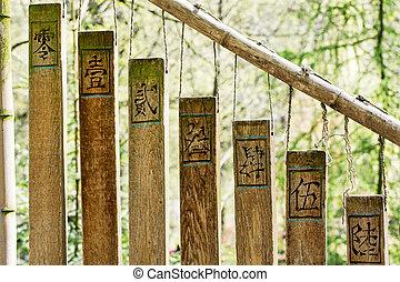 carillones, budista, jardín, oriental