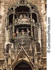 carillons, ville, munich, nuit, façade, nouveau, salle