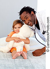 Doctor with a child in a hospital