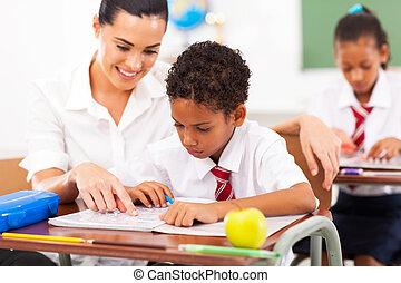 caring elementary school teacher