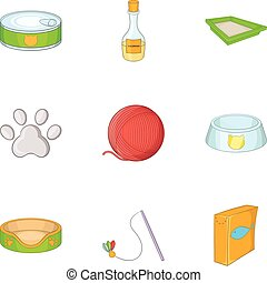 Caring for a cat icons set, cartoon style