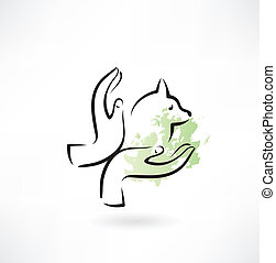 caring for animals hands icon