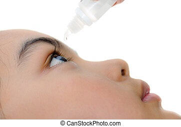 Caring for eyes with eye drops.