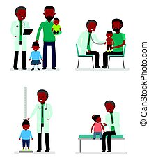 Caring for the health of the child. Set of pediatrician and the father with son and daughter on a white background. African American family.