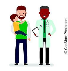 Caring for the health of the child. The pediatrician and the father with son on a white background.