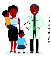 Caring for the health of the child. The pediatrician and the mother with son and daughter on a white background.
