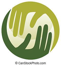 caring, hænder, naturlig, design.