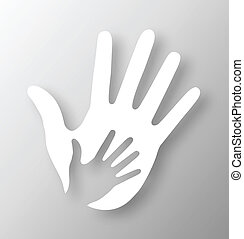 Caring hand applique, vector illustration