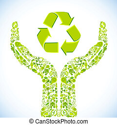 Caring Hand - illustration of hand made of recycle symbol