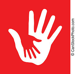 Caring hand on red background