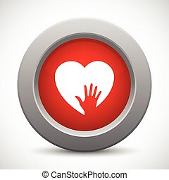 Caring hand red button