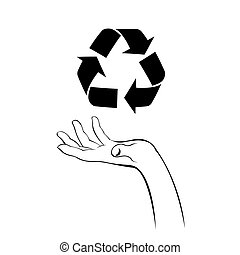 caring hand with recycle icon