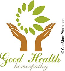 Caring hands holding green spring leaves. Medical rehabilitation abstract logo.