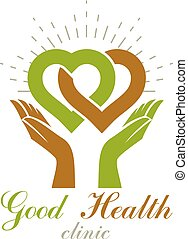 Caring hands holding heart, vector graphic symbol. Homeopathy creative logo. Charity and volunteer concept.