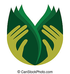 Caring hands holding leaves. - Caring hands holding leaves...