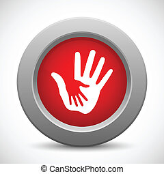 Caring hands red button, vector illustration