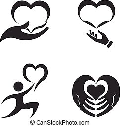 Caring hands. Valentines Day. Icon Set
