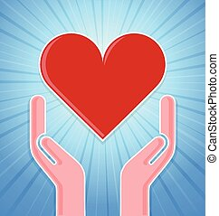 Caring hands with heart