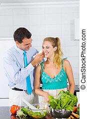 caring husband helping wife