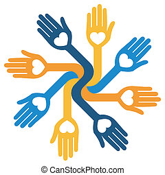 Caring loving circular hands. - Caring loving circular hands...