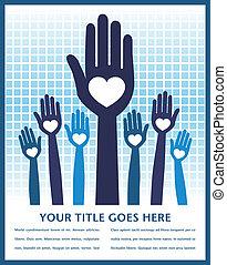 Caring loving hands design. - Caring loving hands design...