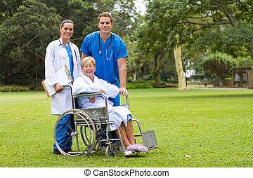 caring, medicinsk bemand, hos, patient