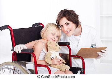caring nurse and little patient