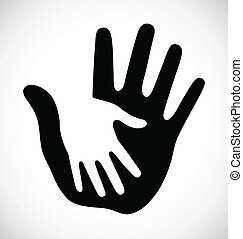 Caring thick hand, vector illustration