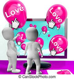 carinhoso, amor, mostrar, saudações, internet, balões, afeto
