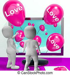 carinhoso, amor, mostrar, saudações, online, balões, afeto