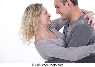 carinhoso, par abraçando