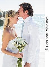 carinhoso, par, ligado, seu, dia casamento