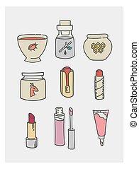 carino, adesivi, rossetto, doodles