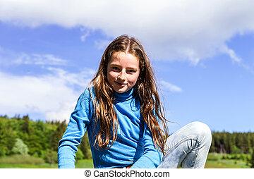 carino, adolescente, adagiarsi, legno, ragazza