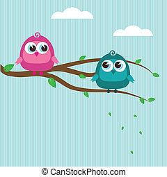 carino, albero, uccelli, ramo