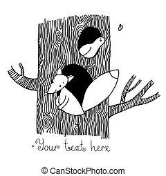 carino, albero., volpe, uccello, cartone animato